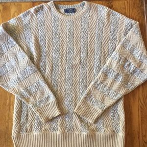 VINTAGE Cable Knit Cotton Oversized Sweater | XL